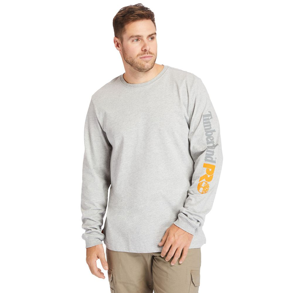Timberland T-Shirts Herre Grå - Pro® Big & Tall Base Plate Long-Sleeve Wicking - Norge 125678TIU